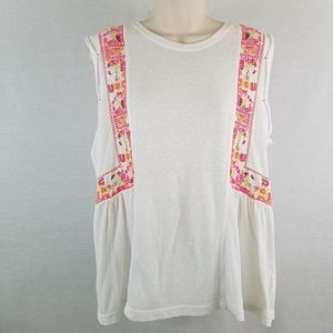 Free People Sleeveless Embroidered Marcy Tank